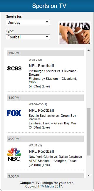 TV Media Sports Widget